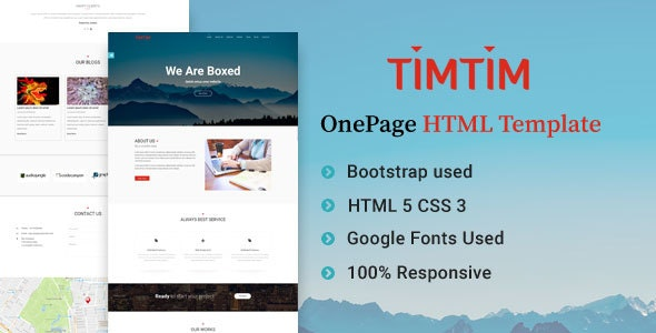 Timtim One Page Creative HTML Template - Creative Site Templates