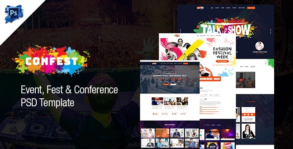 ConFest - Multi-Purposes Event and Conference PSD Template - Events Entertainment
