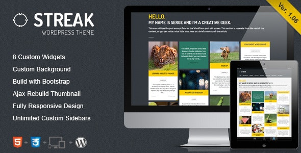 Streak - Responsive WordPress Blog / Portfolio - Blog / Magazine WordPress