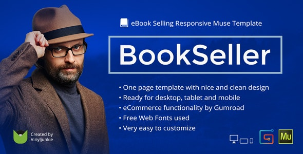 BookSeller - eBook Selling Responsive Muse Template - Landing Muse Templates