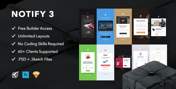 Notify3 - Notification Email + Themebuilder Access - Email Templates Marketing