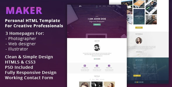 Maker - Personal HTML Template For Creative Professionals - Virtual Business Card Personal