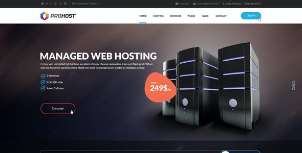 ProHost - Power Pack Hosting HTML Theme