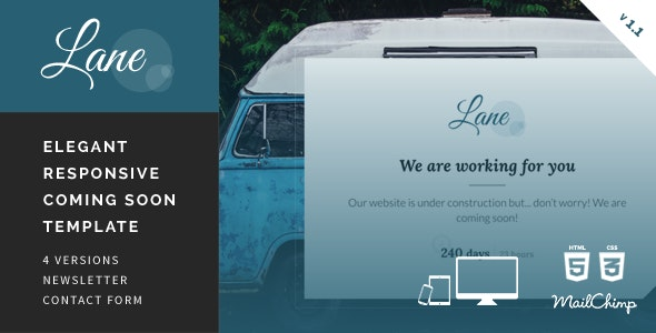 Lane - Elegant Responsive Coming Soon Template - Under Construction Specialty Pages