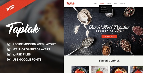 Taplak - Modern Food Recipe PSD Template - Food Retail