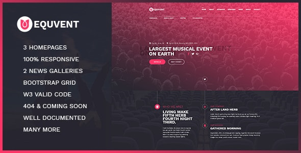 Equvent - Event and Conference Landing Page HTML5 template - Events Entertainment