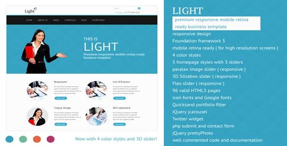 Light - Responsive Mobile Retina Ready Template - Corporate Site Templates