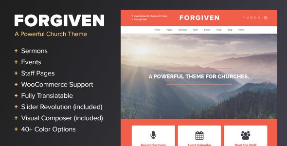 Forgiven - A WordPress Theme for Churches - Churches Nonprofit