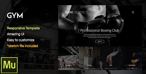 GYM - Responsive Fitness and Gym Muse CC Template + Gallery Widget - Corporate Muse Templates