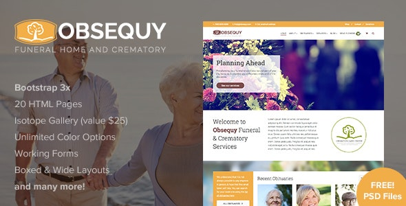 Obsequy - Funeral Home Responsive HTML5 Template - Nonprofit Site Templates
