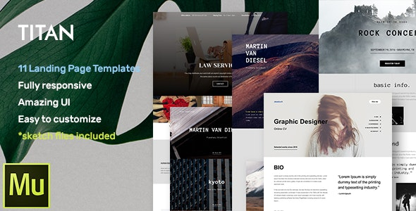 Titan - Responsive Muse Templates for Landing Page + Gallery Widgets - Landing Muse Templates