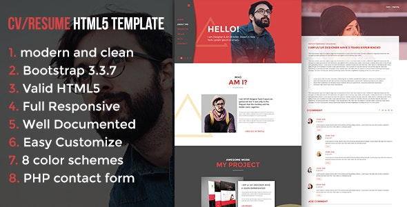 Modern CV / Resume HTML5 Template - Resume / CV Specialty Pages