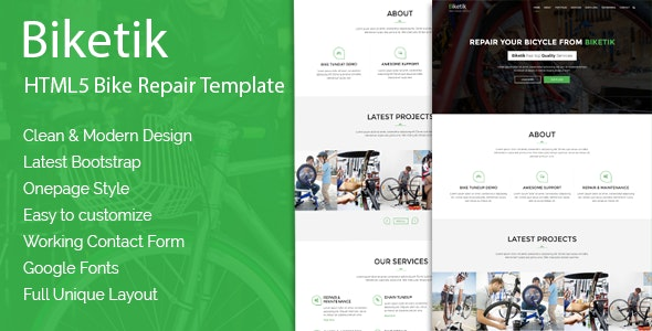 Biketik – HTML5 Bike Repair & Service Template - Business Corporate