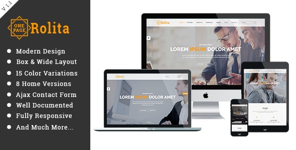 Rolita - One Page Multipurpose HTML Template - Site Templates