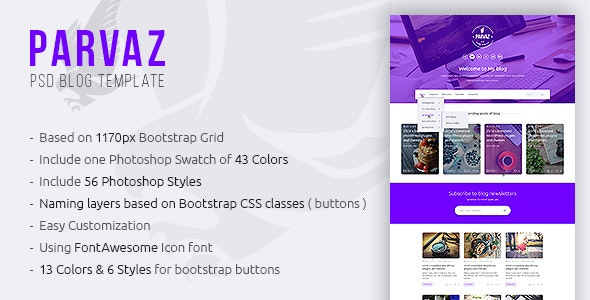 Parvaz - Personal Blogging PSD Template - Personal PSD Templates