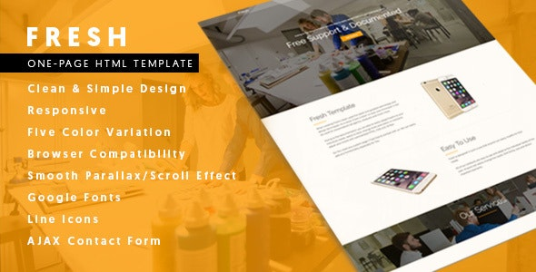 Fresh - Responsive One-Page Bootstrap Parallax Template - Corporate Site Templates