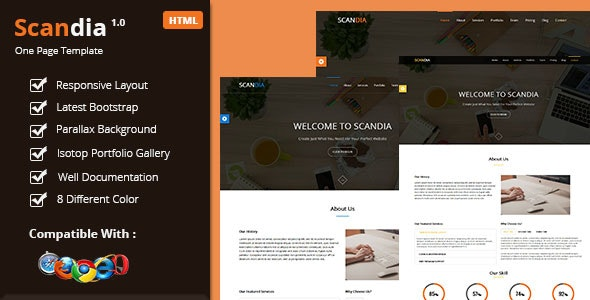 Scandia Responsive One Page Template - Corporate Site Templates