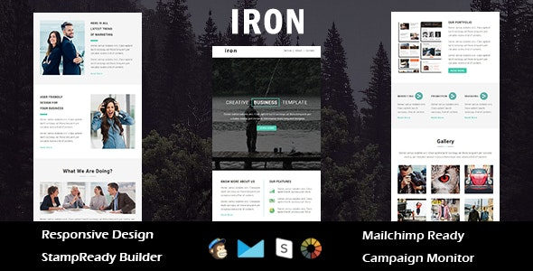 Iron - Multipurpose Responsive Email Template + Stampready Builder - Email Templates Marketing
