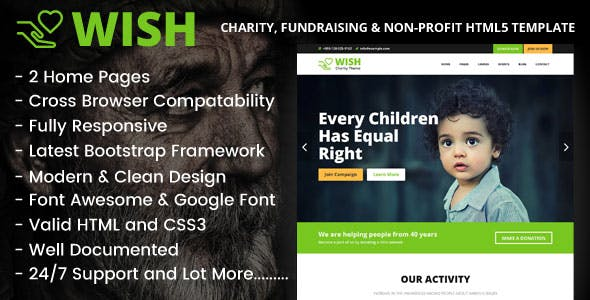 Wish - Charity, Fundraising & Non-Profit HTML5 Template