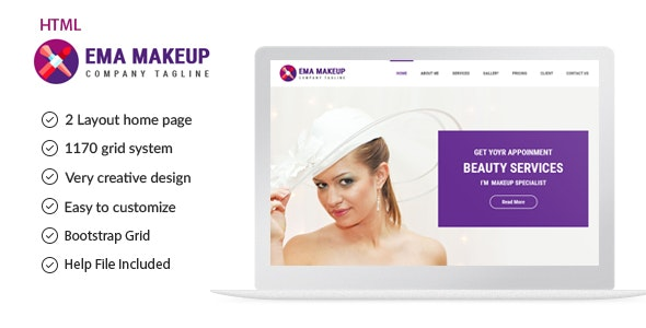 Ema - One Page Beauty Salon Makeup HTML Template - Health & Beauty Retail