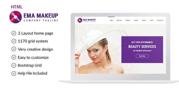 Ema - One Page Beauty Salon Makeup HTML Template