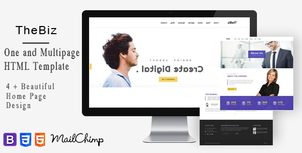 TheBiz-One and Multi Page Responsive Portfolio , Corporate, Business, Creative and Blog Template - Creative Site Templates
