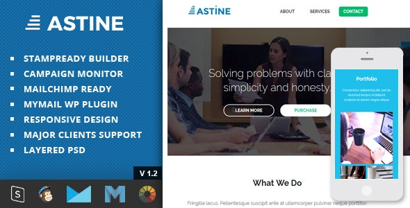Astine – Responsive Email + StampReady Builder & Mailchimp Editor - Newsletters Email Templates