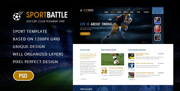 SportBattle – Sport and Soccer PSD Template - PSD Templates