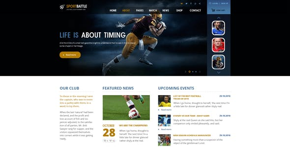 SportBattle – Sport and Soccer PSD Template