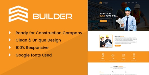 Builder - Construction & Building Company PSD Template by