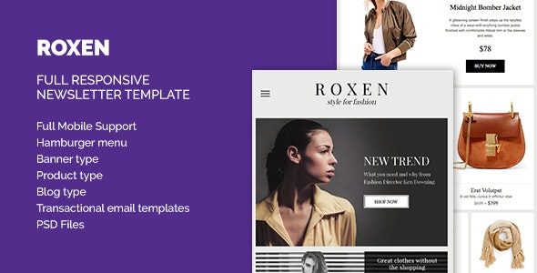 Roxen Responsive Newsletter HTML Template - Email Templates Marketing