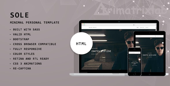 Sole | Minimal CV/Resume, Bio, Portfolio, Blog - Personal Site Templates