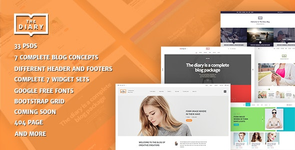 The Diary-Multivariant Blog PSD Template - Corporate Photoshop
