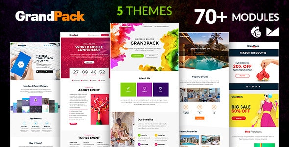 GrandPack Email Template + Online Emailbuilder 2.1 - Newsletters Email Templates