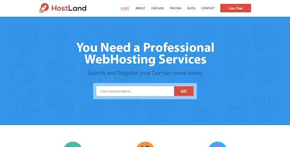 HostLand - One Page Hosting PSD Template