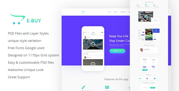 E-Buy Apps Landing PSD Template - Software Technology