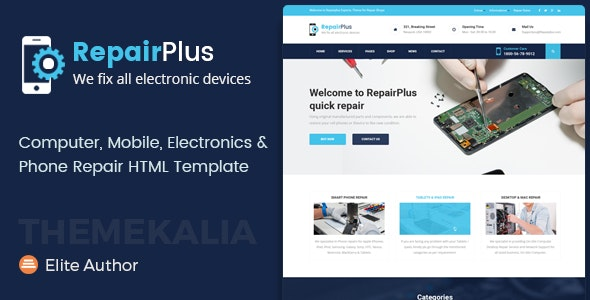 Repair Plus - Electronics and Phone HTML Template - Business Corporate