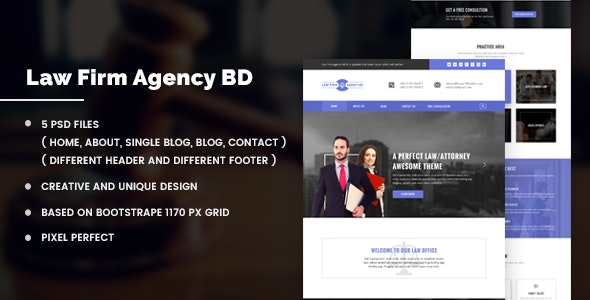 Law Firm Agency BD PSD Template - Marketing Corporate