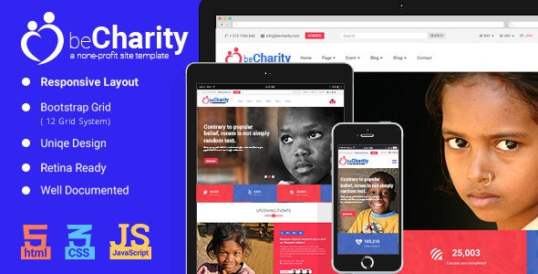 beCharity - HTML5 Charity Template - Charity Nonprofit