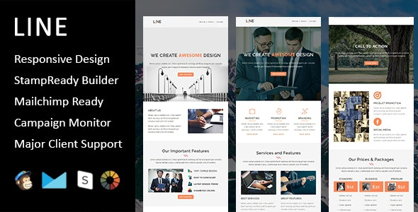 Line - Multipurpose Responsive Email Template + Stampready Builder - Email Templates Marketing