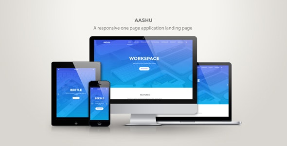 Aashu - A responsive onepage application landing page - Marketing Corporate