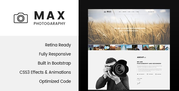 Max Photography - Photographer HTML Template - Photography Creative