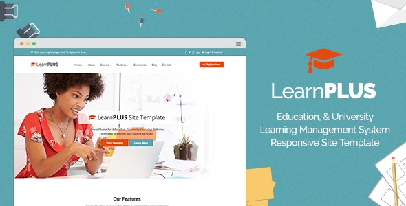 LearnPLUS | Education LMS Responsive Site Template - Corporate Site Templates