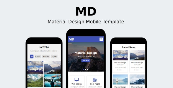 MD - Material Design Mobile Template - Mobile Site Templates