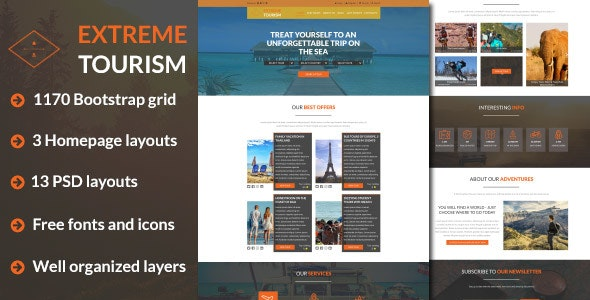 ExT - Tourism & Adventure PSD Template - Travel Retail