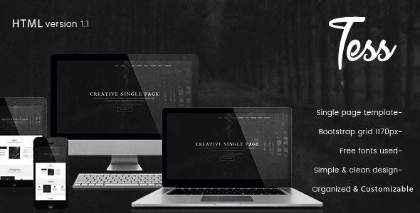 Tess - Single Page HTML Template - Creative Site Templates