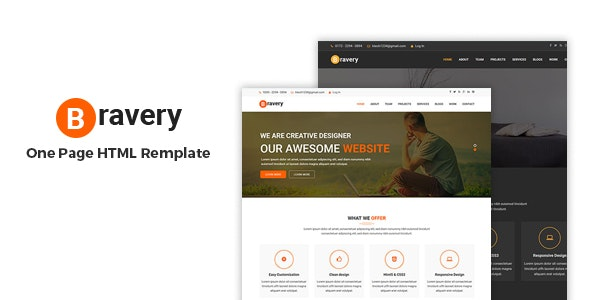 Bravery - Creative One Page Responsive  HTML5 Template - Marketing Corporate