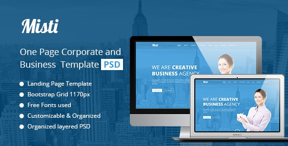Misti One Page Corporate and Business Template - Business Corporate