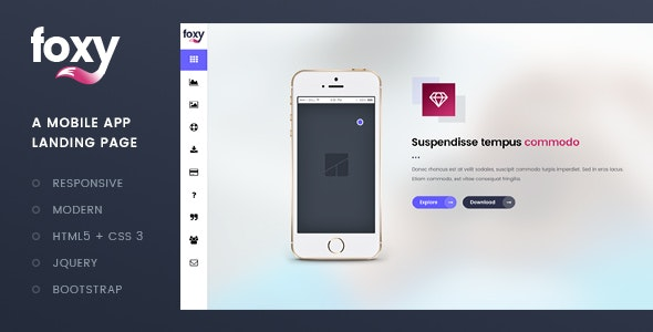 Foxy App Landing Page Template - Apps Technology