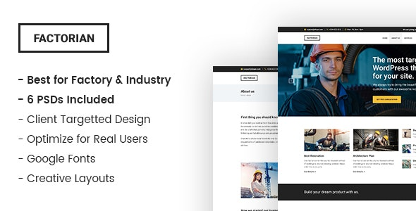 Factorian – Industry and Factory PSD Template - Business Corporate